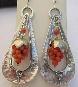 LARGE ART NOUVEAU SILVER CREOLE CORAL GRAPE EARRINGS WOW
